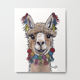 Alpaca with Tassels, colorful Alpaca Art Metal Print