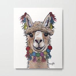 Alpaca with Tassels, colorful Alpaca Art Metal Print