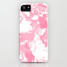 White and pink Marble aqrylic Liquid paint art iPhone Case