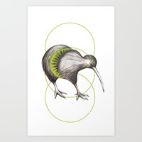 kiwi Art Prints featuring Kiwi by Alexander Salazar