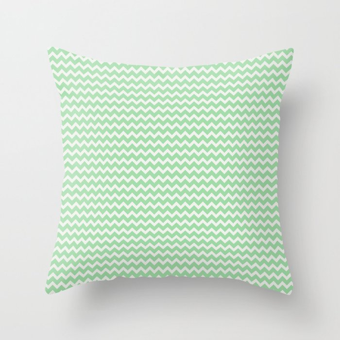 Linen White Chevron Zigzag Lines on Pastel Green Pairs to 2020 Color of the Year 2020 Neo Mint Throw Pillow