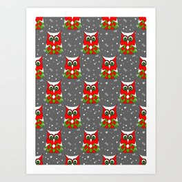 Christmas Snow Owl Pattern Art Print