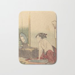 Hokusai, the toilet of a woman- manga, japan,hokusai,japanese,北斎,ミュージシャン Bath Mat