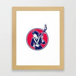 Female Lacrosse Player Patriot Mascot Framed Art Print