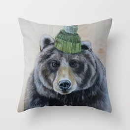 bearly warm Throw Pillow
