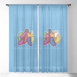 Happy Jelly Beans! (Blue) Sheer Curtain