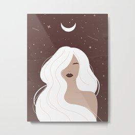 Mystical woman with long white hair, Feminine art, Celestial art, Witchy, Mid Century art Metal Print