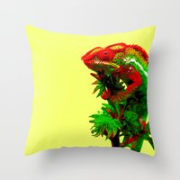 rasta Throw Pillows featuring Rasta Chameleon by Gira Patel