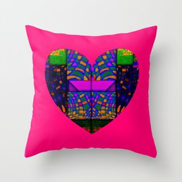 PINK AND GREEN HEART Throw Pillow