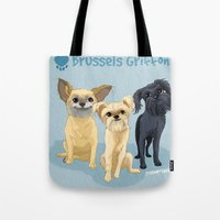 brussels Tote Bags featuring Brussels Griffon by Bark Point Studio