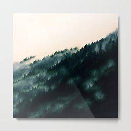 Watercolour Green Fog Forrest Metal Print
