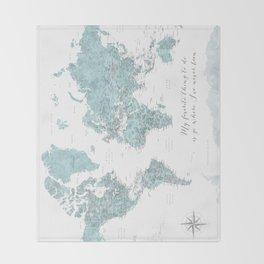 Where I've never been detailed world map in blue Throw Blanket
