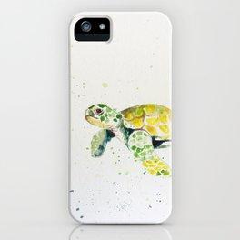 turtle watercolor art iPhone Case
