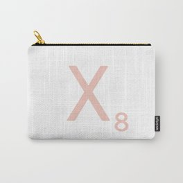 Pink Scrabble Letter X - Scrabble Tile Art and Accessories Carry-All Pouch
