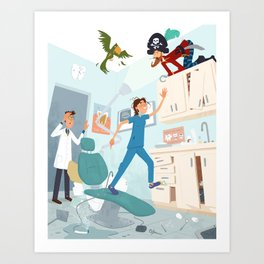 Mayhem at the Dentist Art Print