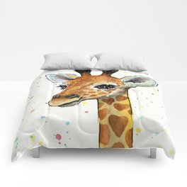 Baby-Giraffe-Nursery-Print-Watercolor-Animal-Portrait-Hearts Comforters