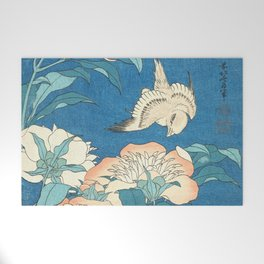 Japanese Flowers Turquoise Peach Welcome Mat