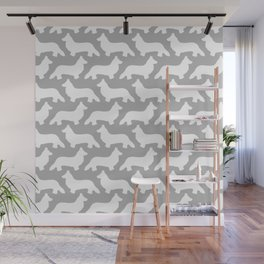 Grey and White Welsh Corgi Silhouettes Pattern Wall Mural