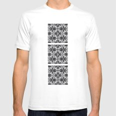 Black Damask  MEDIUM White Mens Fitted Tee