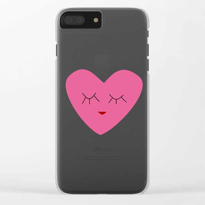valentines heart pink Clear iPhone Case