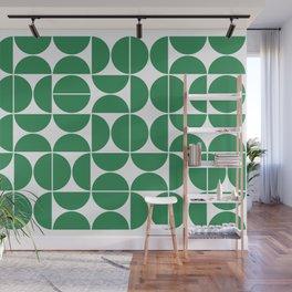 Mid Century Modern Geometric 04 Green Wall Mural