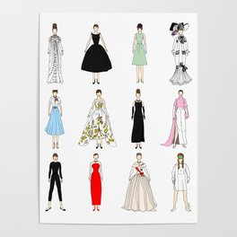 Outfits of Audrey Hepburn Fashion (White) Poster