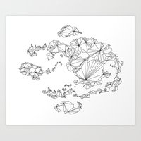 avatar the last airbender Art Prints featuring Avatar the Last Airbender: Map (Line) by ChemicalCurve