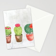 Three Cacti watercolor white Stationery Cards