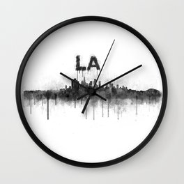 Los Angeles City Skyline HQ v5 BW Wall Clock
