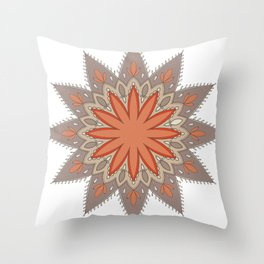 Mandala ocre et taupe Throw Pillow