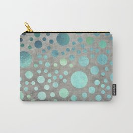 Turquoise Metallic Dots Pattern on Concrete Texture Carry-All Pouch