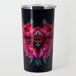 Peony Love with Craquelure Texture Travel Mug