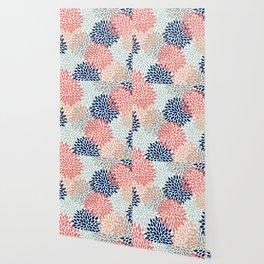 Floral Bloom Print, Coral, Pink, Pale, Aqua, Blue, Gray, Navy Wallpaper