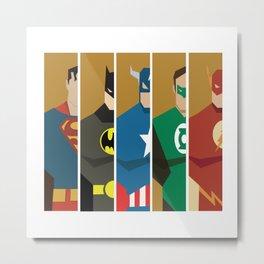 Superheros No. 1-5 Metal Print