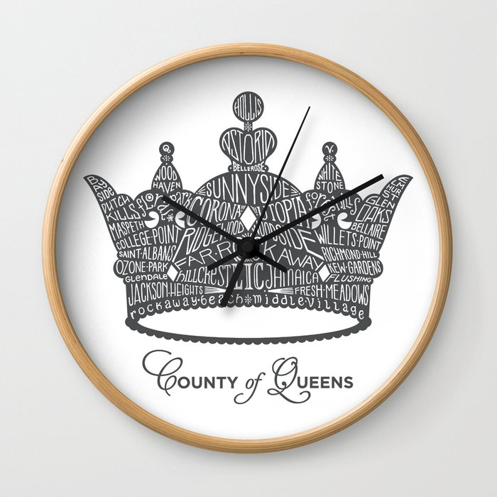 County of Queens | NYC Borough Crown (GREY) Wall Clock