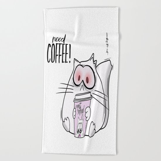 Noodles the Cat needs Coffee! Beach Towel
