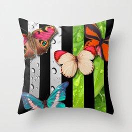 Vertical Stripes Butterflies Leaves & Water Drops Throw Pillow