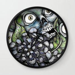 Skulls and Chrysanthemums Wall Clock