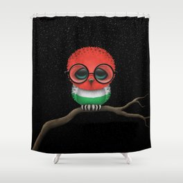 Baby Owl with Glasses and Hungarian Flag Shower Curtain