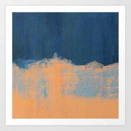 Summer Beach Abstract | Orange Blue Painting Art Print