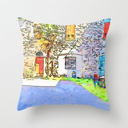 Fognano: courtyard with palm tree Throw Pillow