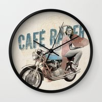 cafe racer Wall Clocks featuring Cafe Racer by Liviu Antonescu