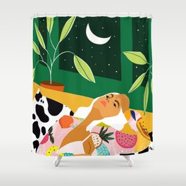 Moon Lover #illustration #feminism Shower Curtain