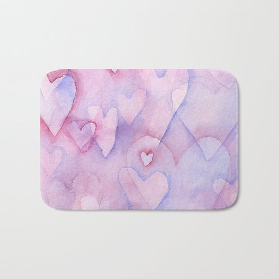 Pink Hearts Pattern Bath Mat