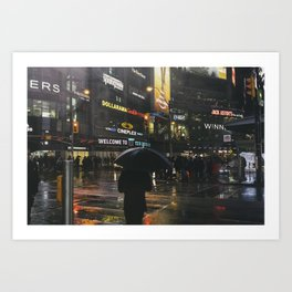 City Lights and Lonely Man in Toronto Street photography Art Print