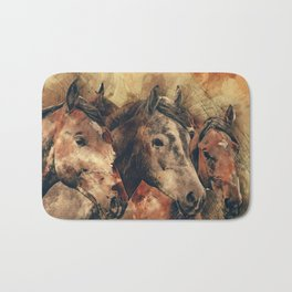 Galloping Wild Mustang Horses Bath Mat