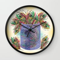 feathers Wall Clocks featuring Feathers by famenxt