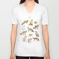 foxes V-neck T-shirts featuring Foxes by Amy Hamilton