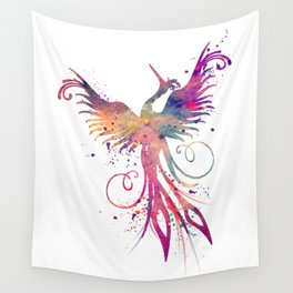 Phoenix Art Colorful Purple Watercolor Art Gift Nursery Art Bird Art Mythology Gift Sun Art Wall Tapestry