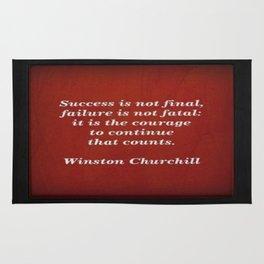 Winston Churchill Success Quote Rug